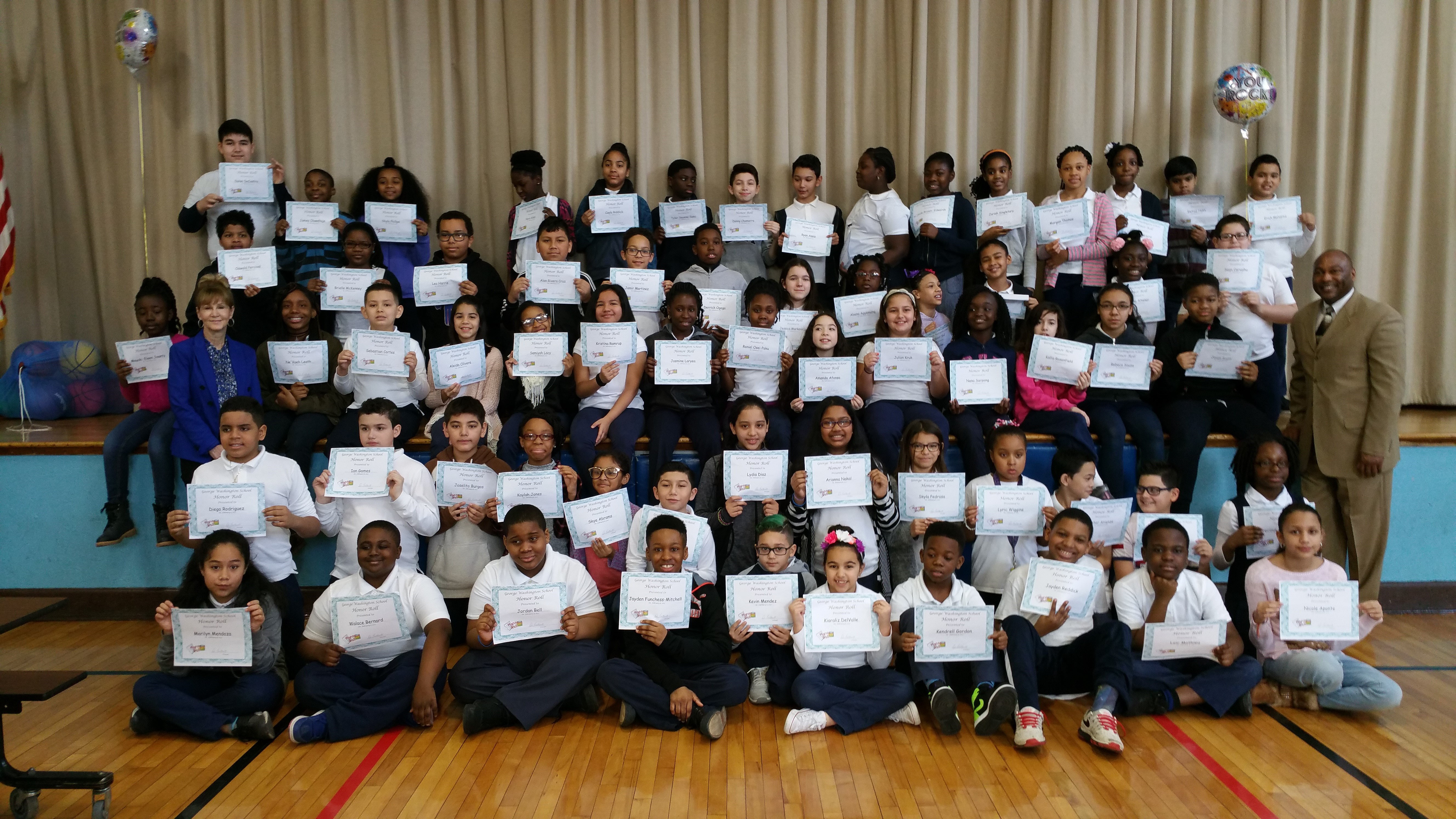 George Washington School celebrates 70 Honor Roll students for Marking Period 2.