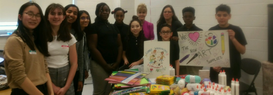 West Windsor-Plainsboro School District students funded a George Washington School DonorsChoose grant as a Community Service Project. The eighth graders delivered $652.66 for art supplies.