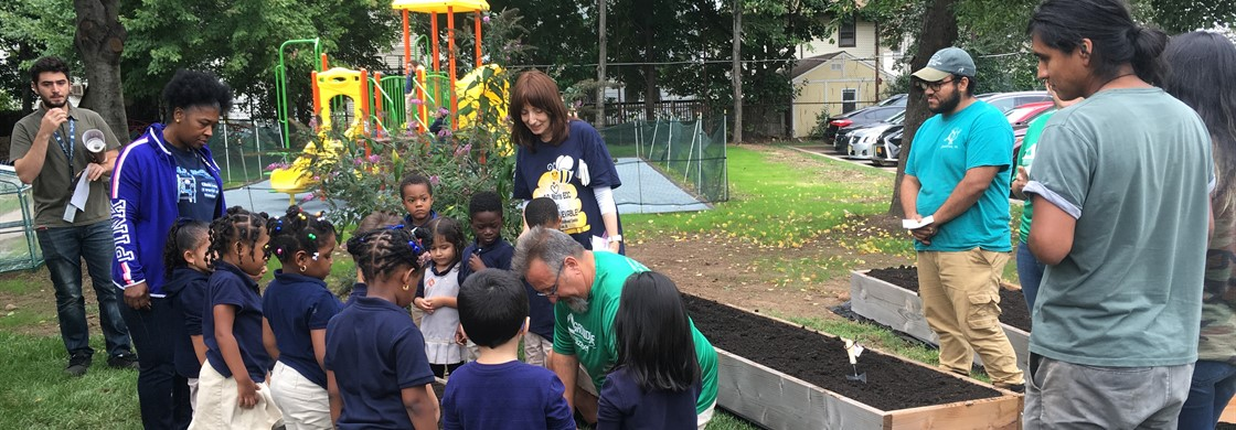 Students from Mrs. Greenblatt & Mrs. Crescitelli's pre-k room helped to put together our garden as part of our grant.
