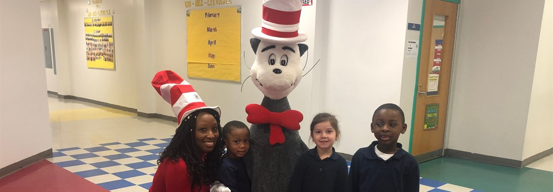 The Cat in the Hat came to visit A.P. Morris to encourage scholars to continue their love of reading,